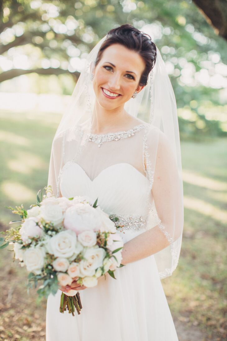 Romantic New Orleans Bride With Illusion Neckline Wedding Dress
