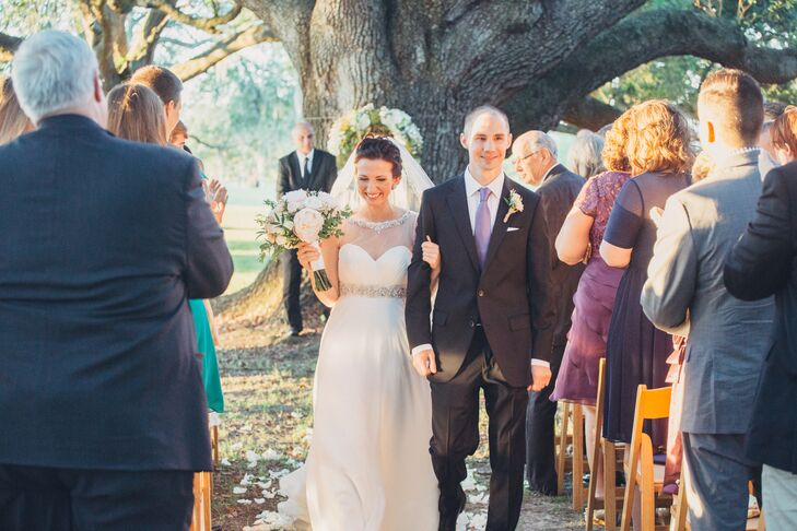 Courtney and Ben Recessional in Audubon Park