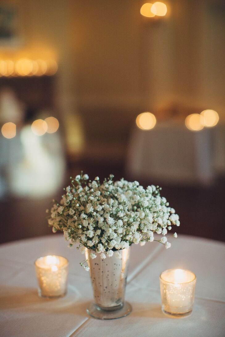 Baby's Breath Centerpiece in Distressed Metal Cup