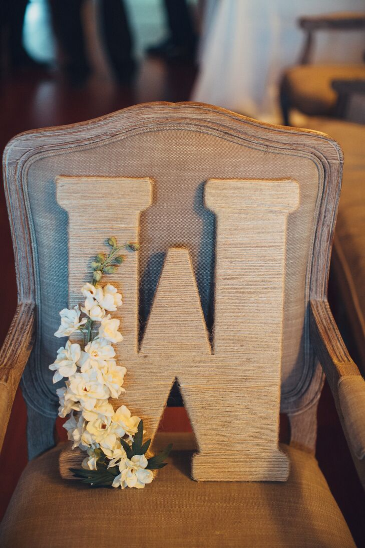 Rustic Initial With White Flower Decor