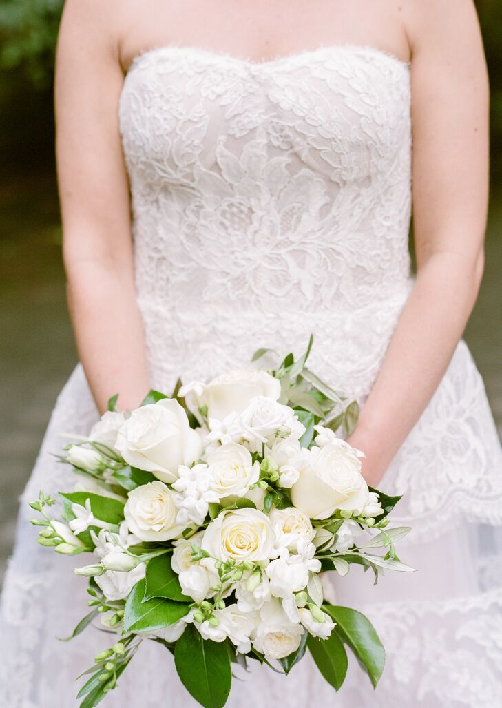 Classic White Stephanotis and Rose Bouquet