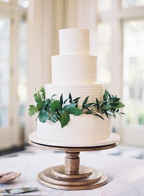Simple Tiered Cake With Greenery