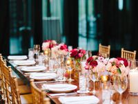 rose gold wedding reception table and chairs