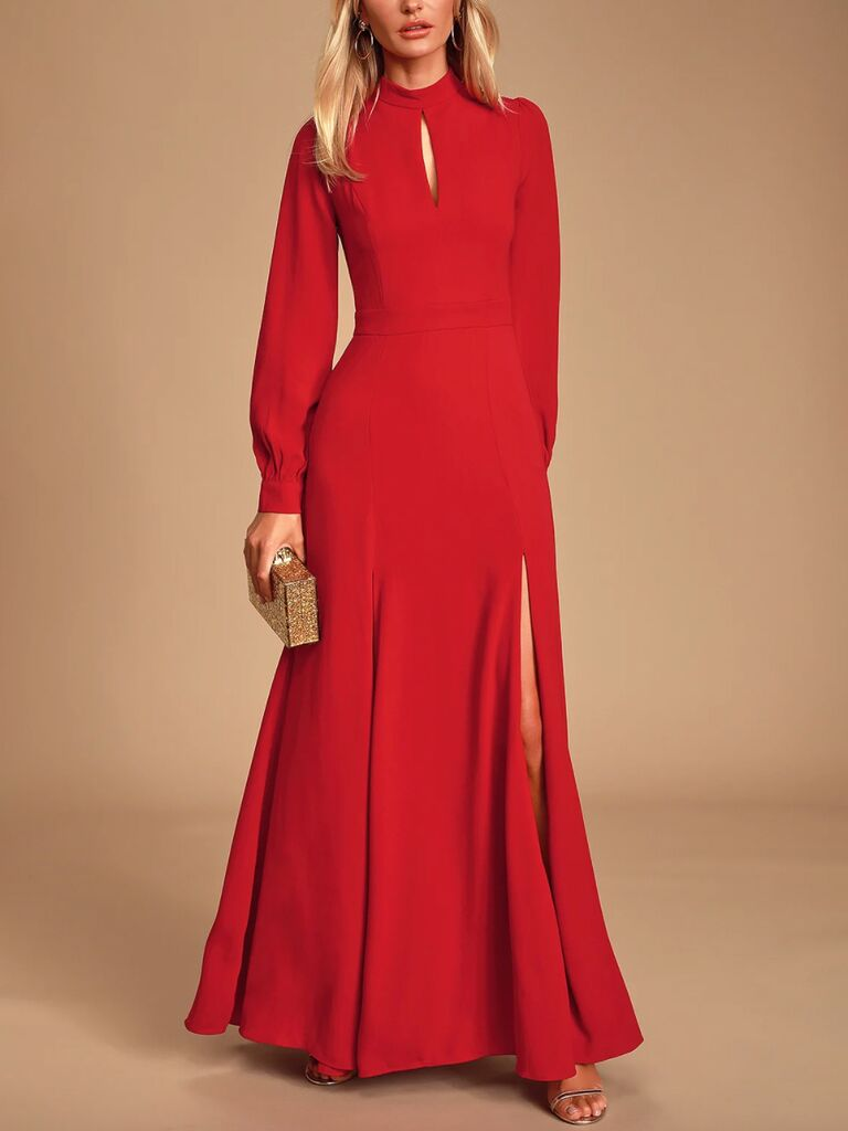 Lulus Noura red mock neck long sleeve maxi dress