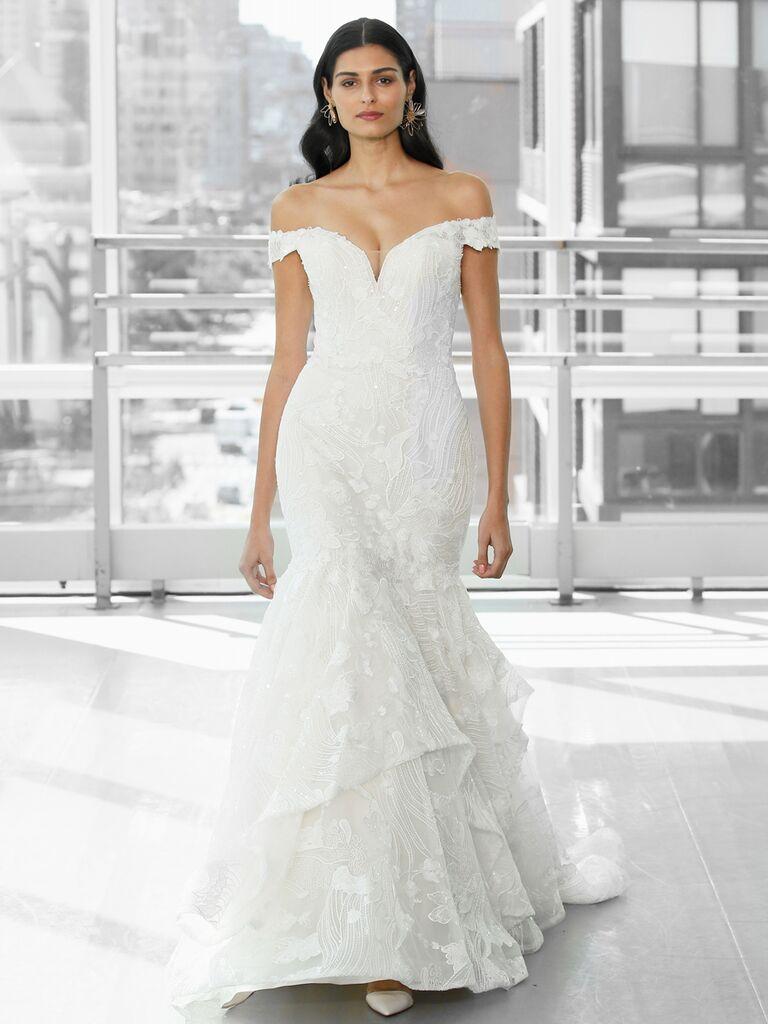 Justin Alexander Signature Wedding Dresses off-the-shoulder tulle trumpet gown