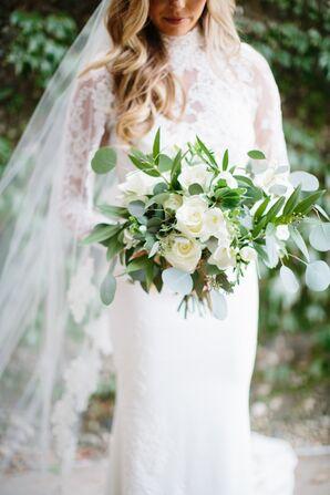 Oversize White Rose and Eucalyptus Bouquet