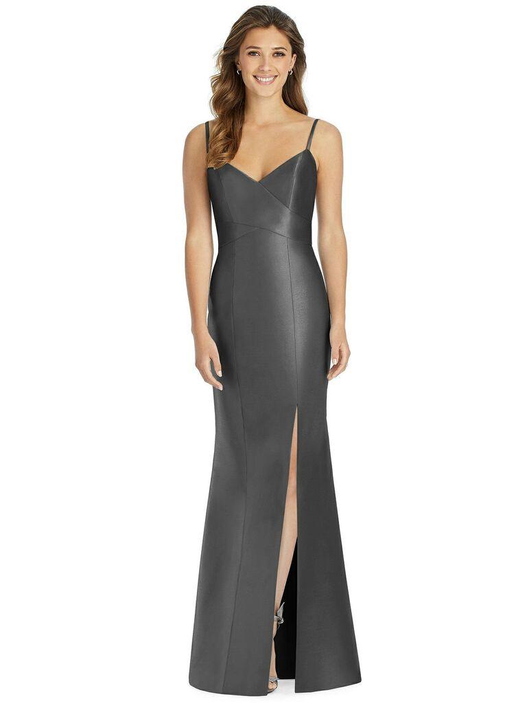 Shiny dark gray bridesmaid dress