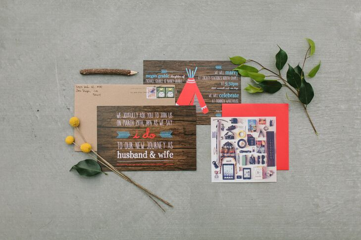 Megan and Ray sent rustic wooden looking travel-inspired invitations decorated with teepees, feathers and packing lists in a bold red and turquoise color palette.