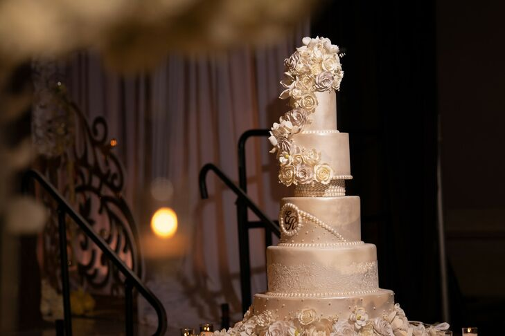 Glamorous White-and-Gold Cake for Wedding at Cipriani Wall Street in New York City