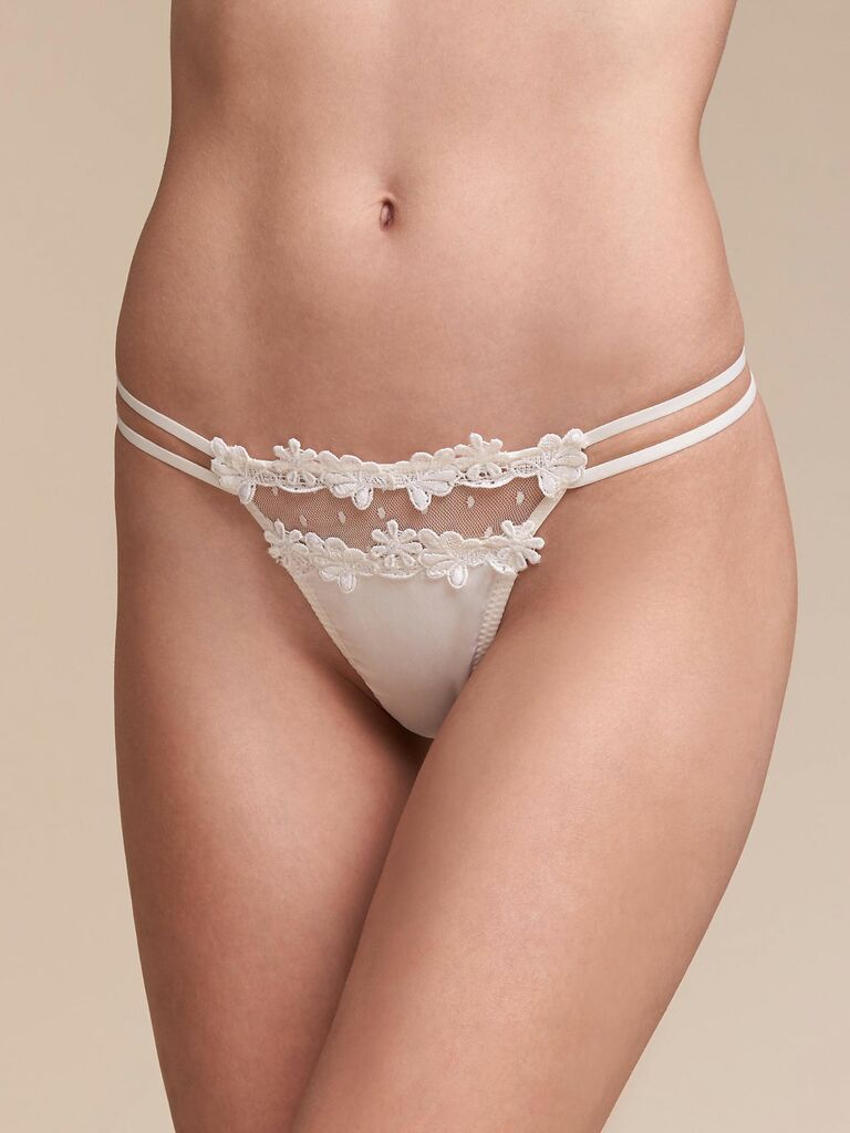 white thong with floral applique
