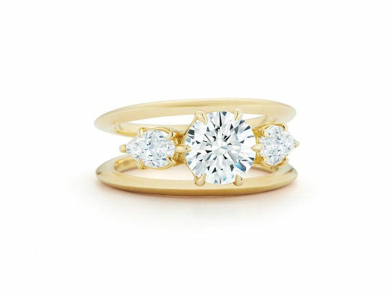 Jade Trau three stone engagement ring