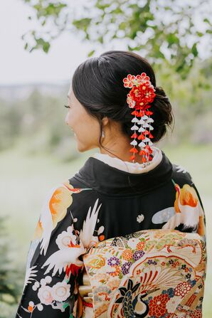 Bride in Traditional Japanese Kimono with Hair Accessories