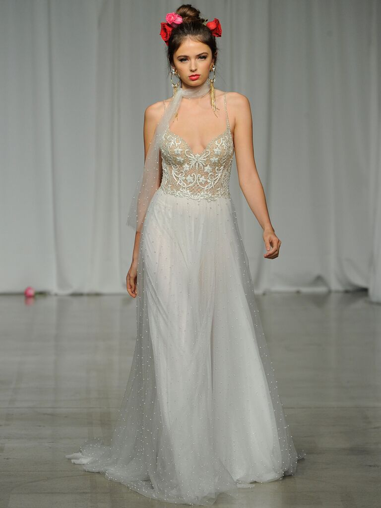 Julie Vino Spring 2019 wedding dress with an embroidered bodice and embellished skirt