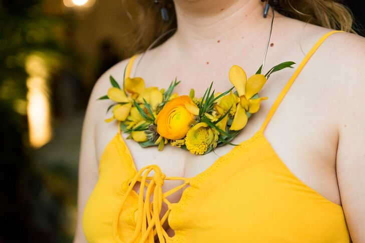 Modern Yellow Flower Necklace for Bridesmaid