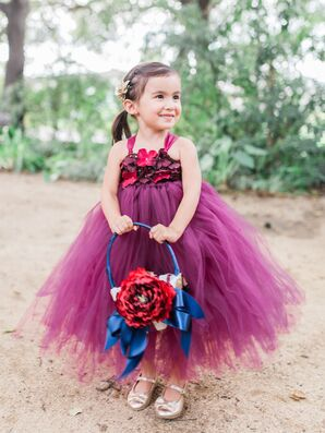 Whimsical Wine Tulle Flower Girl Dress with Floral Top