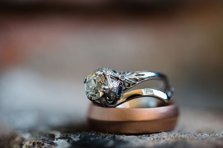 Engagement Ring With Wedding Rings and Bands