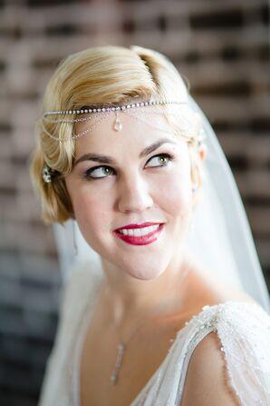 Bride Wearing Vintage Crown With Veil
