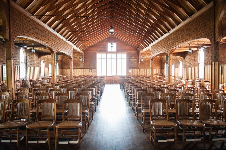 "To keep the integrity of the church intact, Sarah and Brendan did minimal decorating to St. James Chapel, a church the bride attended frequently growing up. ""I loved the seaside feel,"" Sarah says. ""When you enter the church, it feels as though you were in the haul of a ship."""