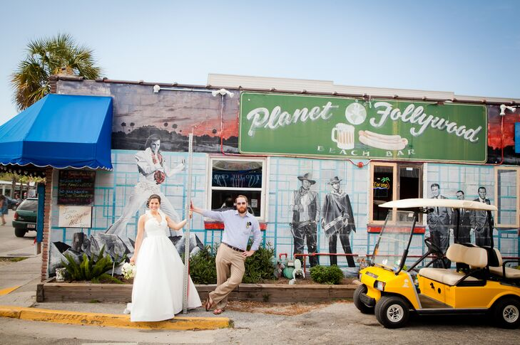 Following the ceremony, the newlyweds hopped around town in their bright yellow golf cart, stopping for photos at some of Folly Beach's iconic spots before heading to the reception.