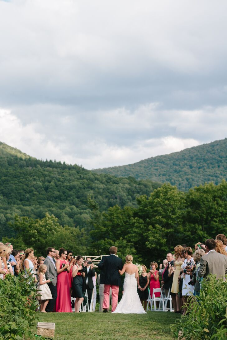 The ceremony took place on a field of wildflowers just up the road from Meredith's father's home in Dorset, Vermont.