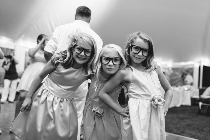 Fun Flower Girls Pose at Reception