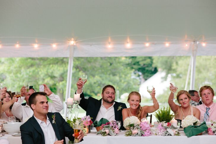 Toast at Outdoor Tented Reception