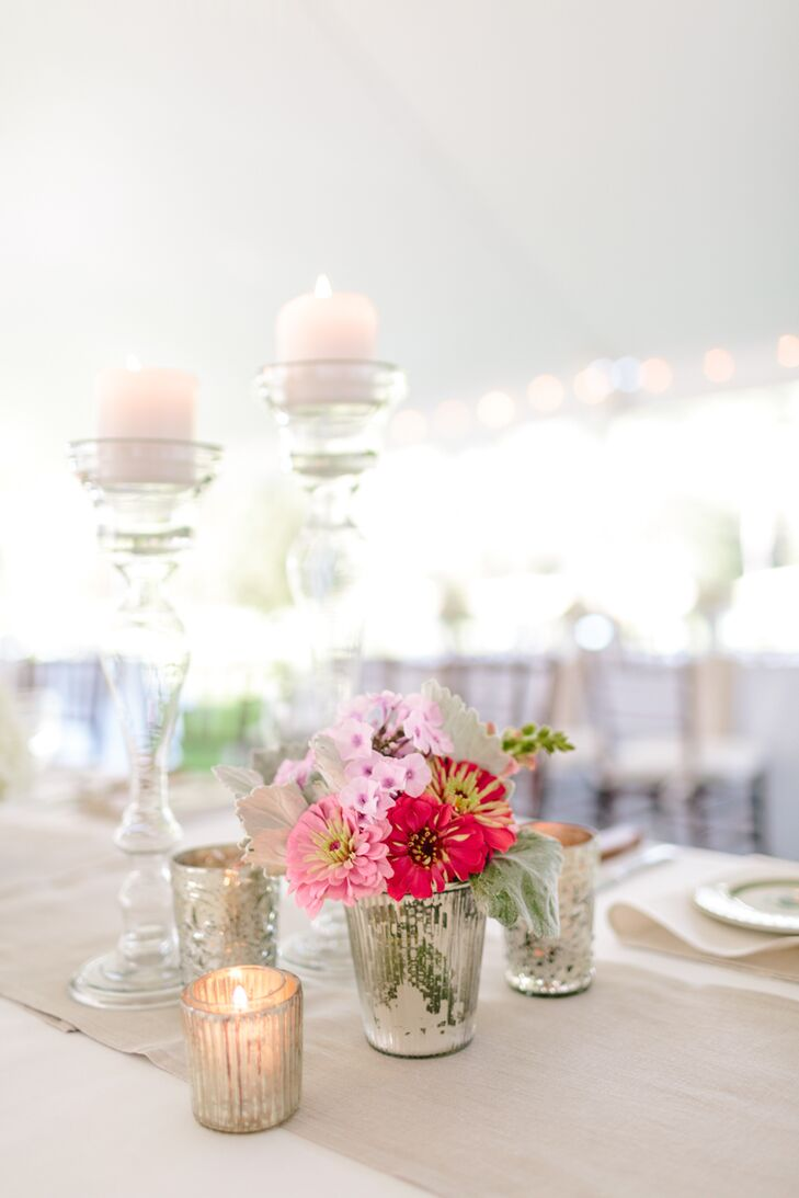 Small Pink Floral Centerpieces and Candles