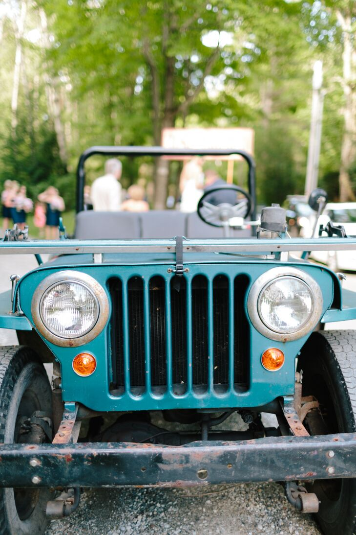 The couple exited the ceremony in Meredith's Uncle's old jeep pulling a wagon with the bridal party. Guests followed behind in cars.