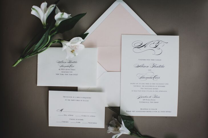 Classic Invitations with Blush Envelope Liner