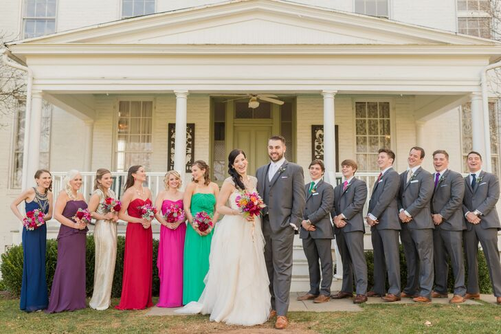 """""""I would never ask my friends to spend money on a dress that they hate,"""" Chelsea. Each bridesmaid picked out her own dress, and the groomsmen wore ties to match their respective bridesmaid."""