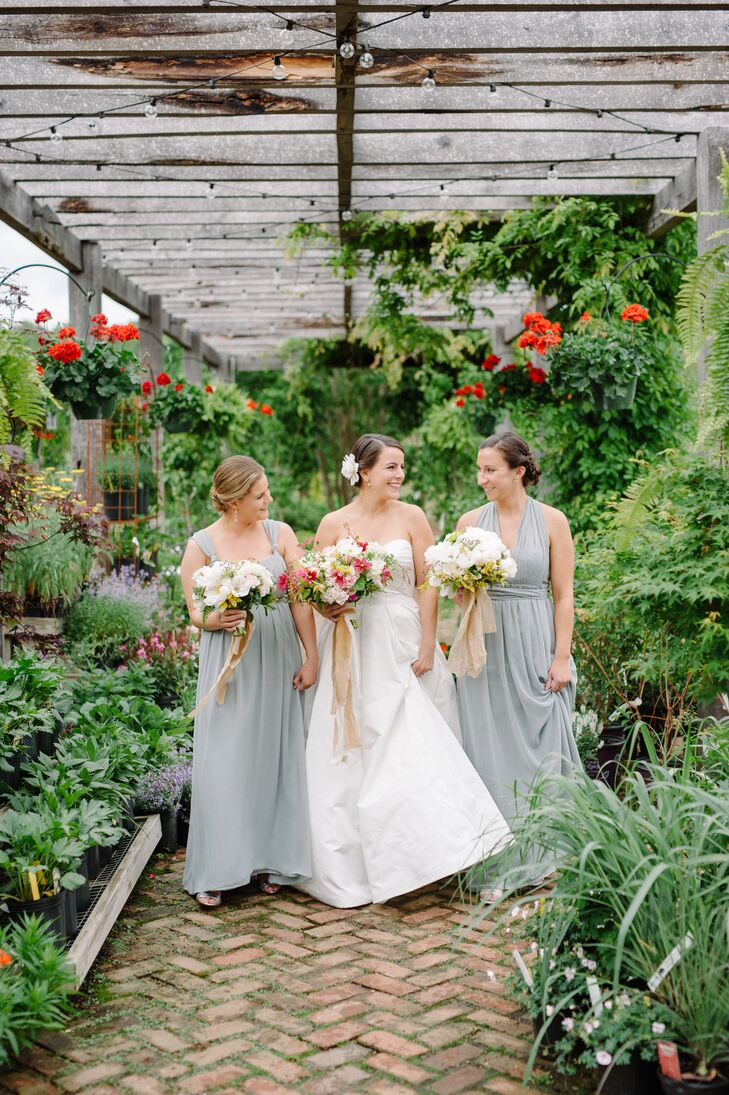 Bridesmaids with Updos and Soft-Gray Dresses