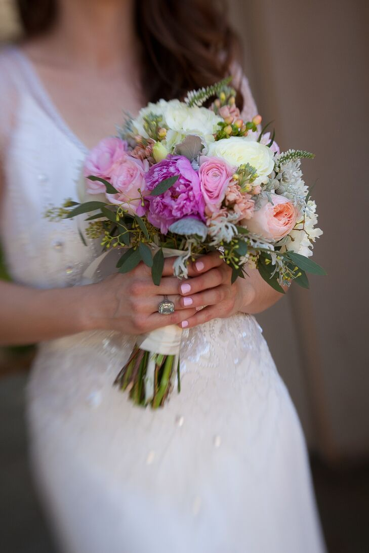 Pink Peony Bouquet With Dusty Miller