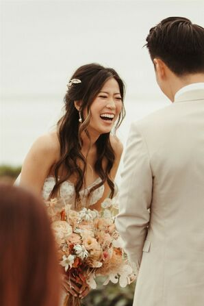 Brides Laughs During Ceremony at Dos Pueblos Orchid Farm in Goleta, California
