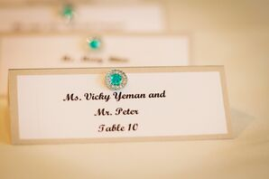 Gold Trimmed Place Cards with Aqua Accent