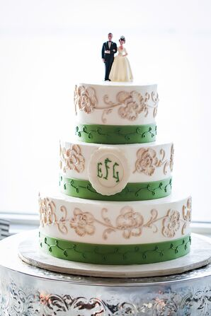 Greed and Floral Accented Monogram Wedding Cake