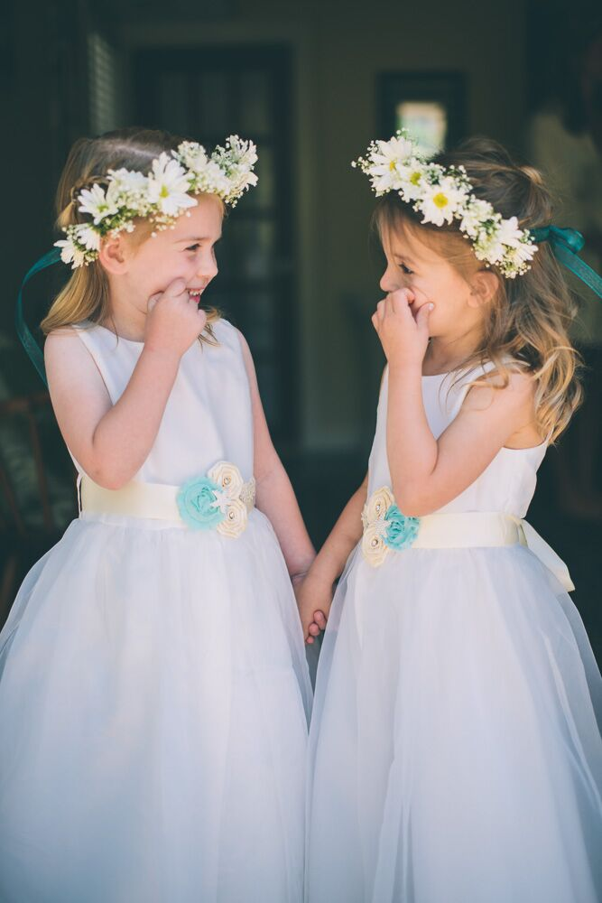 37bcf66f2b3a Daisy Flower Crowns and Tulle Flower-Girl Dresses