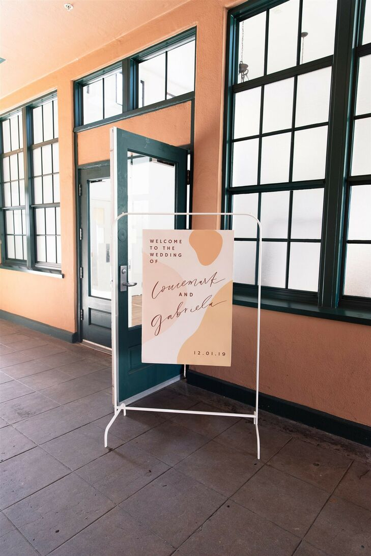 Welcome Sign at Modern and Minimal Wedding in San Diego, California