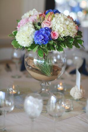Blue and White Hydrangea Centerpiece