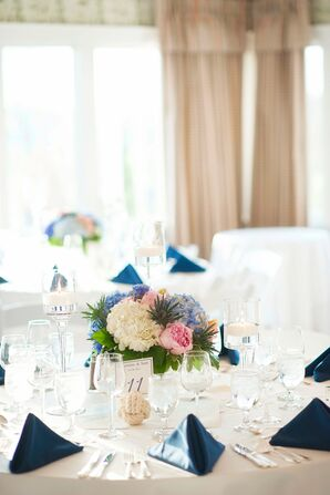 Navy Blue and White Reception Dinner Table with Centerpiece and Table Number