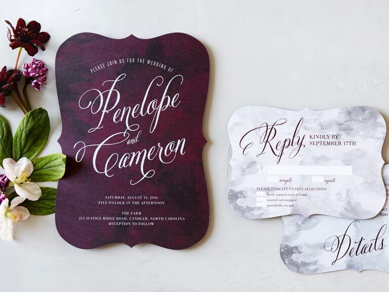 Wedding Paper Divas plum painterly wedding invitation