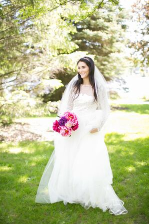 Long-Sleeve Lace and Tulle Wedding Dress