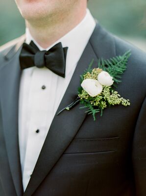 Ranunculus, Seeded Eucalyptus and Fern Boutonniere