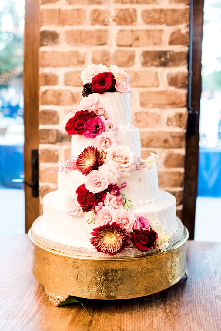 Tiered Cake with Red Roses and Pink Peonies