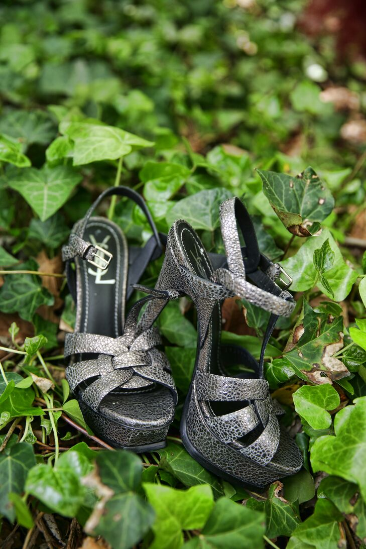 Silver Shoes With Green Leaves