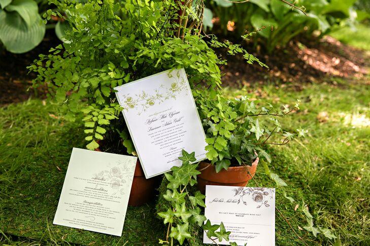Custom Sage and White Wedding Invitations