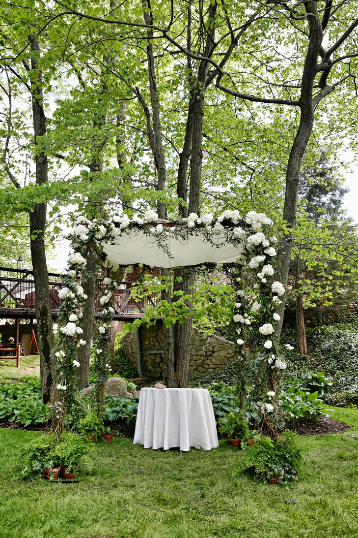 Wooden Altar With White and Green Accents