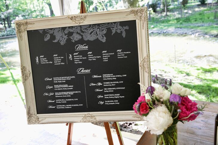 Chalkboard List of Wines and Cheeses