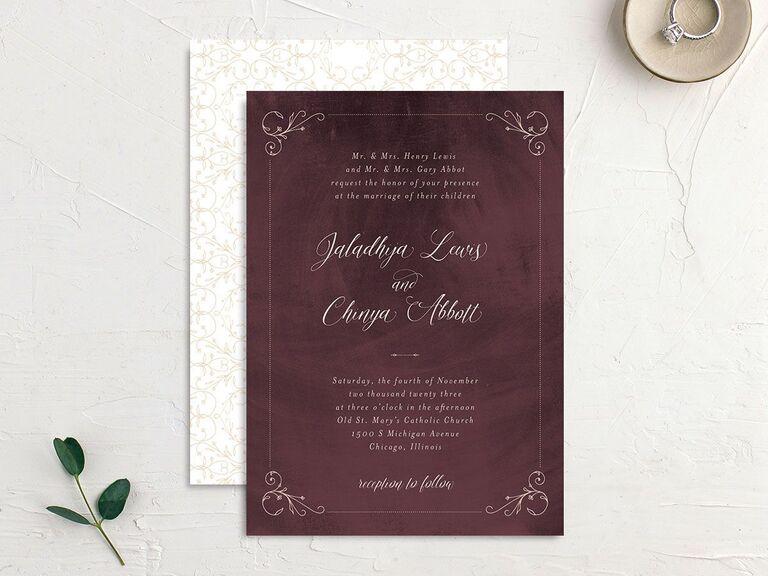 Vintage burgundy fall wedding invitation