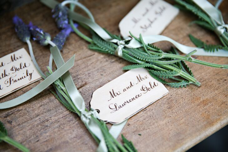 Escort Cards with Lavender and Green Ribbon