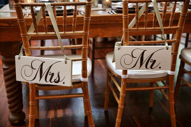 """Chairs with """"Mr."""" and """"Mrs."""" Signs"""